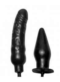 Пробка и фаллос с функцией расширения Deuce Double Penetration Inflatable Dildo and Anal Plug - XR Brands
